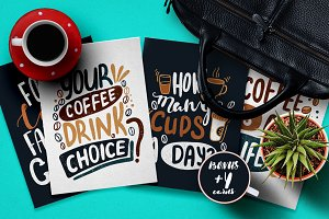 Handdrawn Coffee Quotes. Lettering.