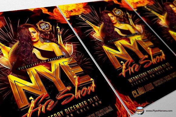 NYE Fireshow Flyer Template Flyer Templates on Creative Market – Mayhem Flyer Template
