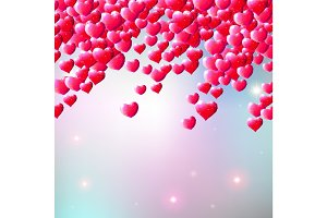 Valentines Day background with scattered gem hearts