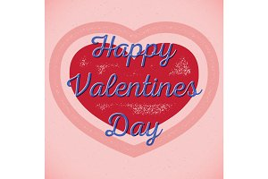 Retro Valentines Day card with shifted colors
