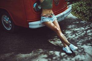 Girls feet in sneakers