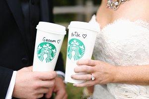 Starbucks wedding cups bride & groom