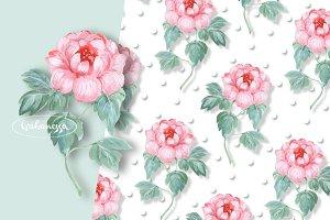 Pink flower + pattern. Watercolor