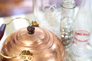 Vintage teapot and glasses