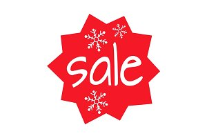 Christmas Sale Shaped Icon on White Background