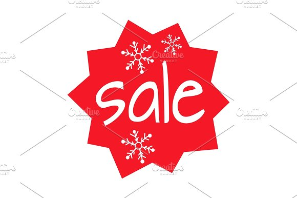 Christmas Sale Shaped Icon On White Background