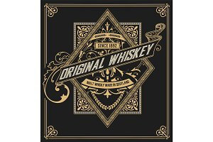 Whiskey label with old frames. Vector layered