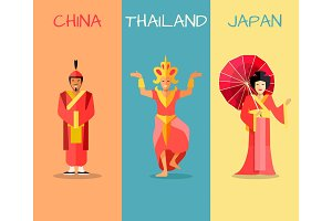 Asian Cultural Attractions Vector Concept Set
