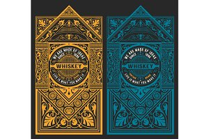 Vintage design set for whiskey packing