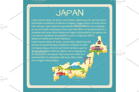 Japan Framed Vector Touristic Banner With Text