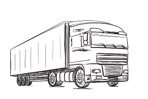 Sketching truck. Delivery poster.