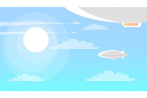Airships Flying in Sky with Clouds and Shining Sun