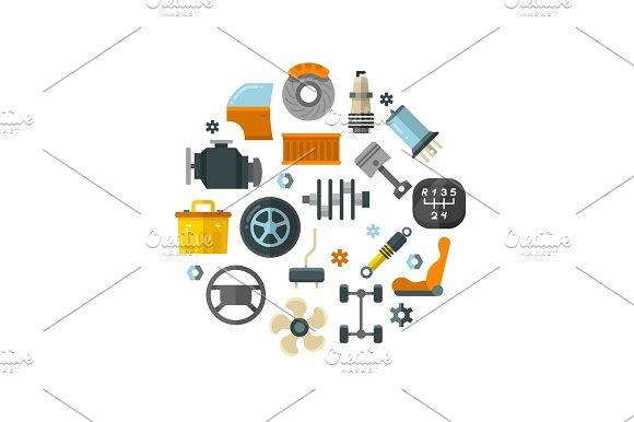 Auto Spare Parts Car Repair Service Vehicle Technology Vector Concept