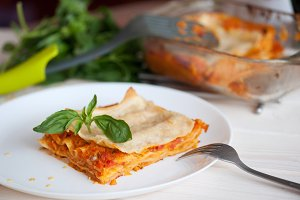 Healthy Vegetarian Lasagna, Fresh Italian Recipe with Basil Leaves
