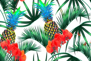 Palm leaves,pineapple,orchid pattern