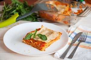 Healthy Vegetarian Lasagna, Fresh Italian Recipe with Basil Leaves