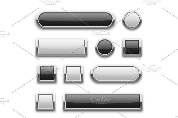 White And Black 3D Technology Buttons With Shiny Silver Chrome Metal Frame Vector Set