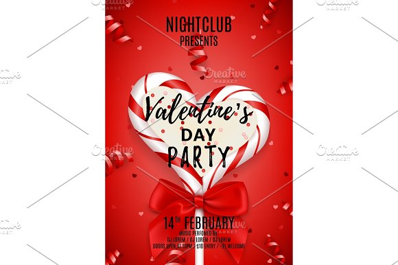 Red Poster For Happy Valentine's Day Party