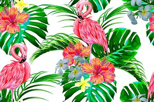 Tropical flowers,flamingos pattern