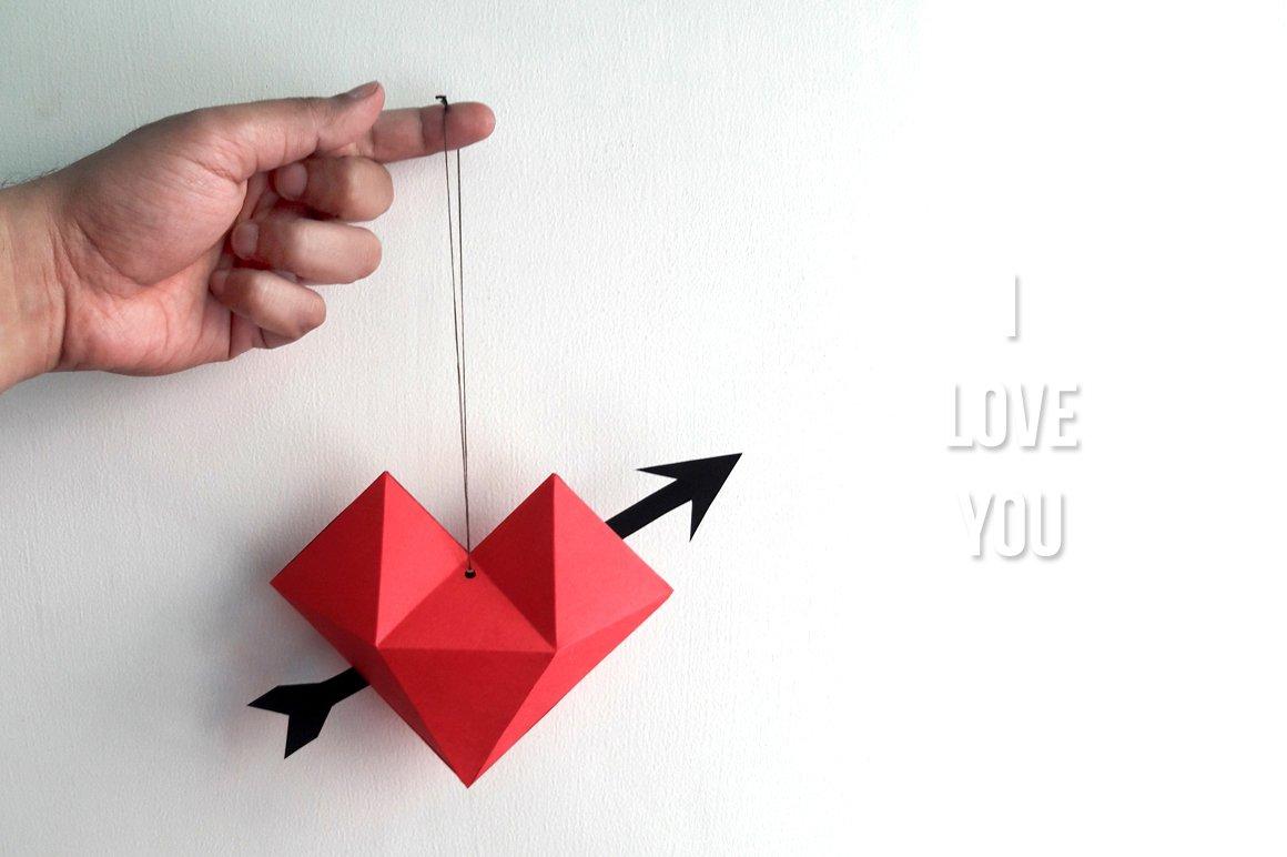 Diy paper hat heart 3d papercraft templates creative market diy heart dangler 3d papercrafts jeuxipadfo Gallery