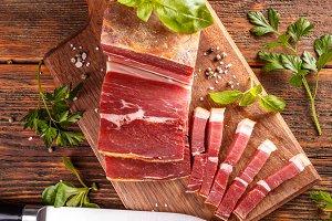 Sliced smoked pork meat