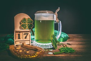 Green beer, horseshoe and shamrocks