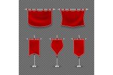 Medieval royalty, king fabric red flag banner vector set