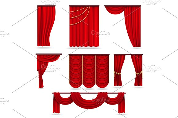 Red Velvet Stage Curtains Scarlet Theatre Drapery Isolated On White Vector Set