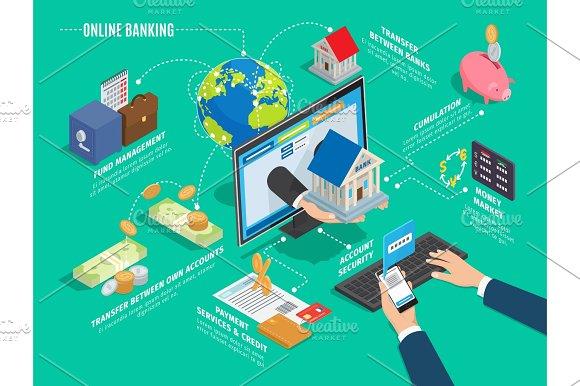 Online Banking Process Scheme On Green Background