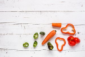 Mix of fresh vegetables isolated