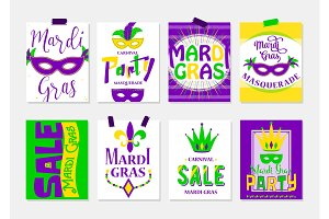 Vector illustration of mardi gras greeting cards, sale and party flyer