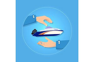 Blue and Orange Speed Motorboat on Blue Background