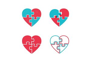 Hearts puzzles icons.