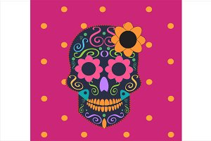Skull vector with flower pink color