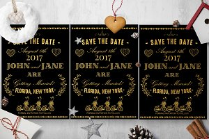 Golden Save The Date Card Template