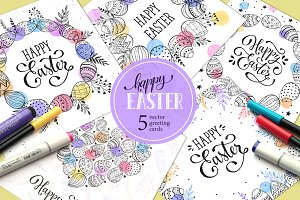 Happy Easter cards set