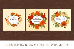 Lilies, Poppies, Roses. Vintage Card