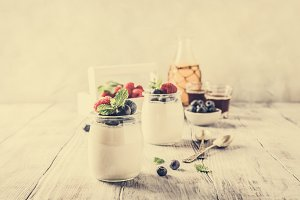 Healthy breakfast with natural yoghurt and berries