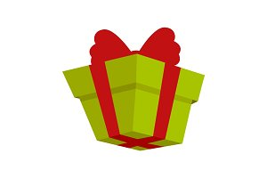 Packing Present Icon with Red Bow in Flat Style.