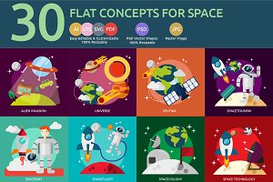 Flat Concepts for Space and Universe