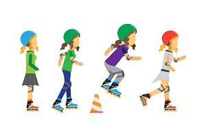 Roller Skater Girls Vector in Flat Design