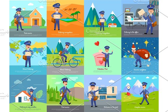 Set Of Icon With Postman Characters And Mail Boxes