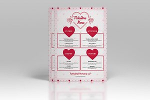 Valentine party menu flyer-V482