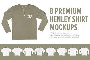 8 Premium Henley Shirt Mockups