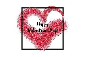 Glitter heart square frame for Valentines Day
