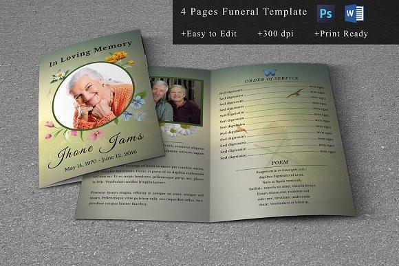 Funeral Program Template-V664