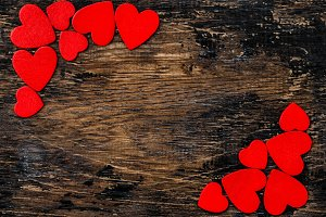 Red Hearts Rustic Wooden Background
