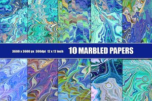 MARBLED PAPER BACKGROUNDS blue
