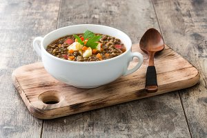 Lentil soup in a bowl