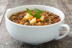 Lentil soup in a bowl